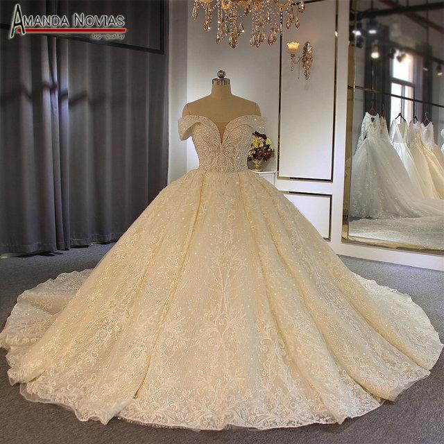 2019 robe de soirée Estilo Off Ombro vestido de Baile de Luxo vestido de noiva amanda novias