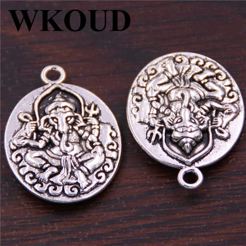 WKOUD 5pcs כסף צבע 28*21mm פיל אלוהים תליון-* גנש * אלוהים של עושר קסם-קמע דו-צדדי בודהה תליון A198