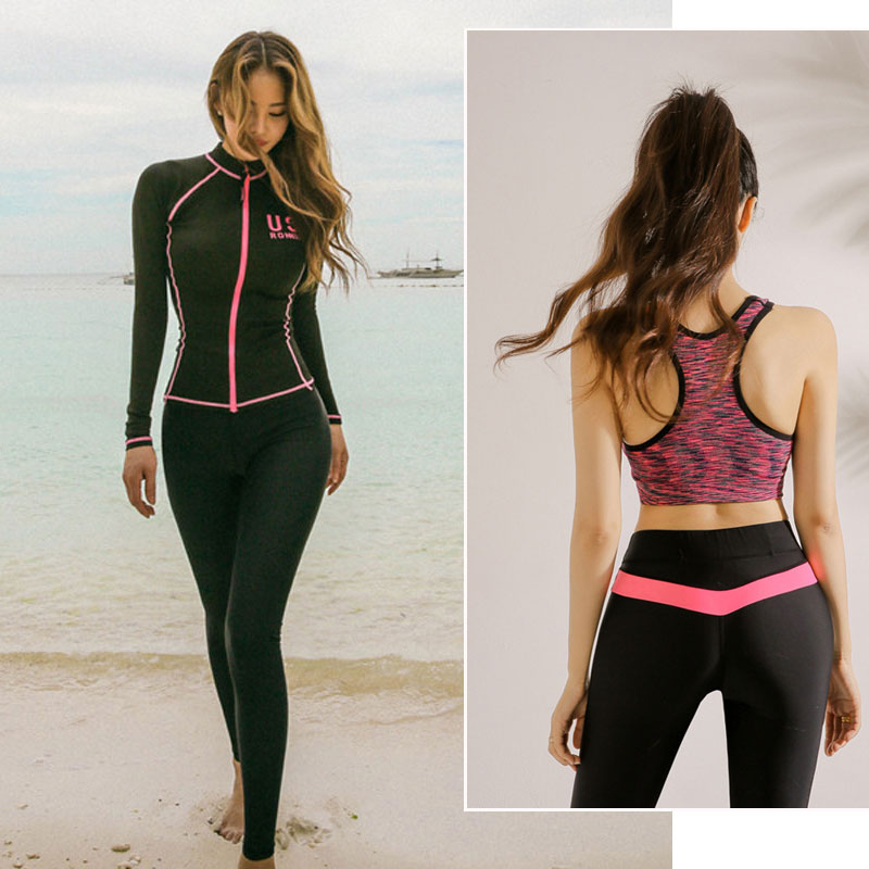 Surfing & Diving Matching Couples Rash Guards Set Womens Zip Rashguard Shirt Bra Leggings Trunks 4 Pieces Swim Suits Full Body Sun Uv Protection Sports & Entertainment