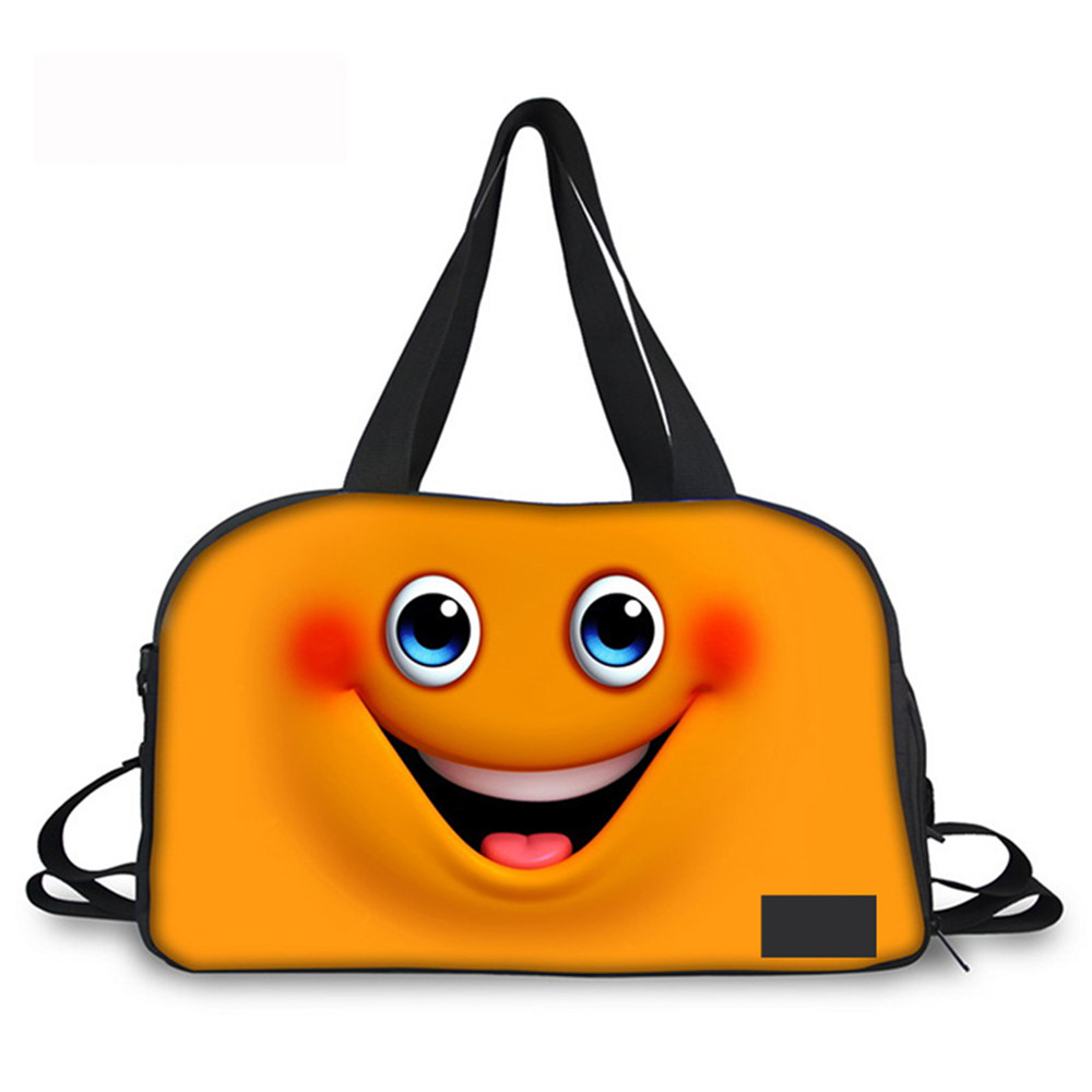 Noisy Designs 3D Cute Emoji Pattern Print Women Travel Duffle Expression Bag Candy Color Luggage Totes Large Weekend Travel Bag