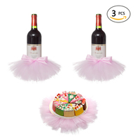 3pcs Baby Shower Party Decor Princess Dress Bottle Cover Pink White Wine Bottle Cake Cover Tulle Skirt Wedding Party Supplies