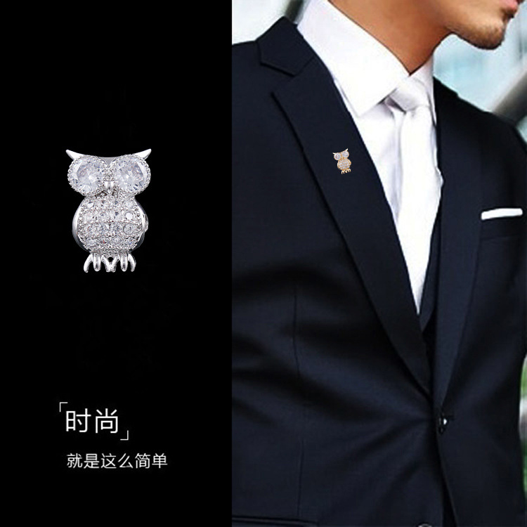 CINDY XIANG New Arrival Cubic Zirconia Owl Collar Brooches For Women And Men Fashion Animal Copper Brooch High Quality Unisex in Brooches from Jewelry Accessories
