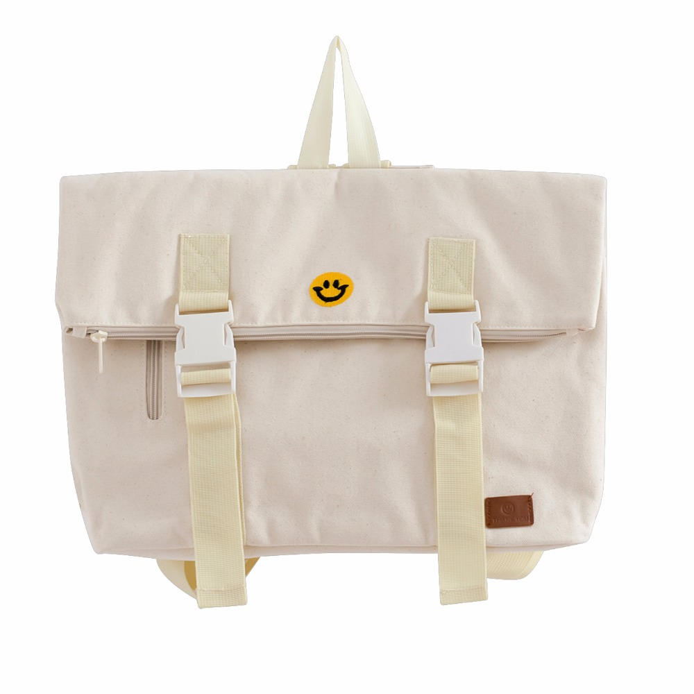 Unisex Vintage Canvas Beige Cotton Backpack Bag Smiley Embroidery  Square Folding Women Schoolbag Fasion Design Original