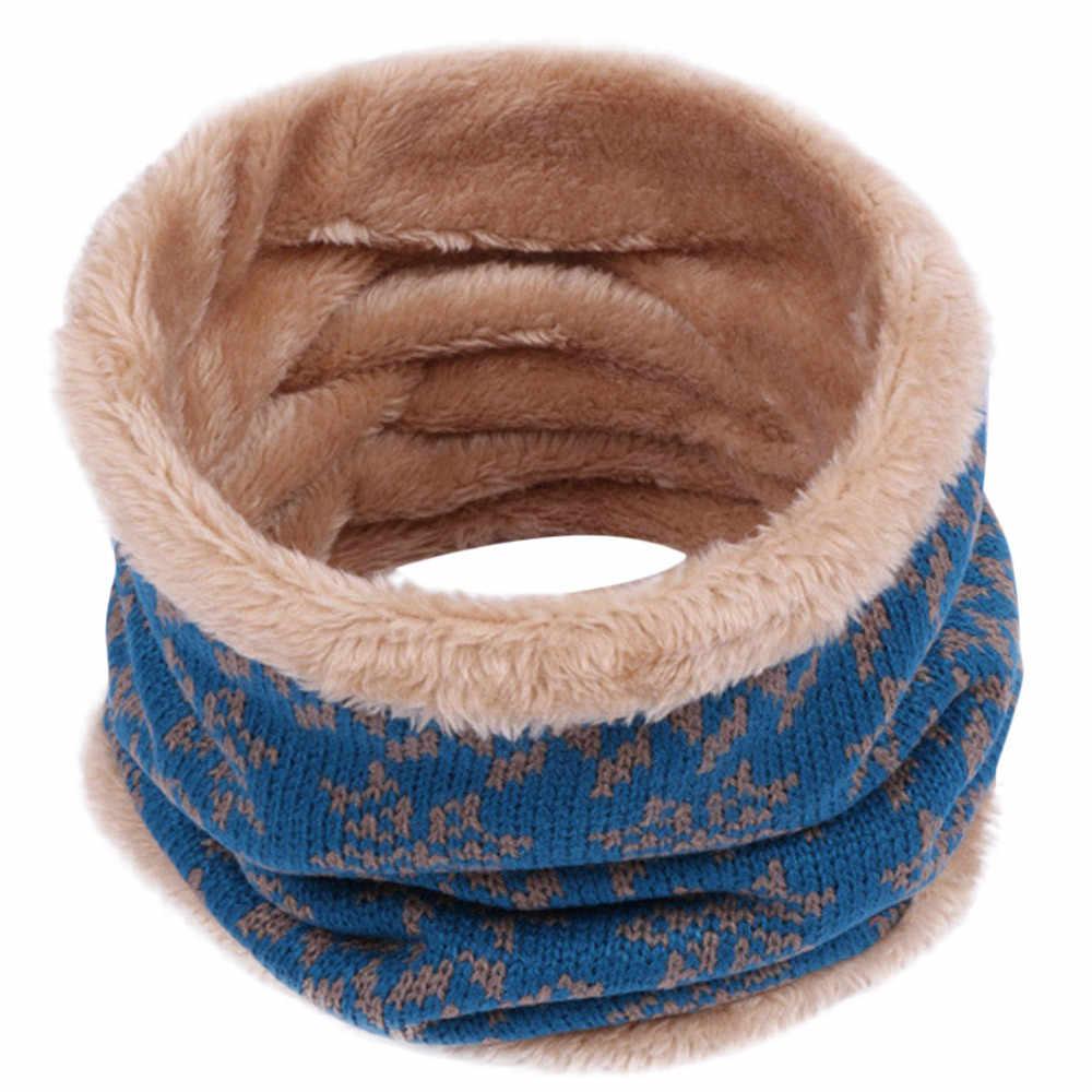 หมวกเด็กผ้าพันคอเด็กผ้าพันคอ WARM ฤดูหนาวเด็กถักคอผ้าพันคอพิมพ์ Bufanda de invierno Para niños