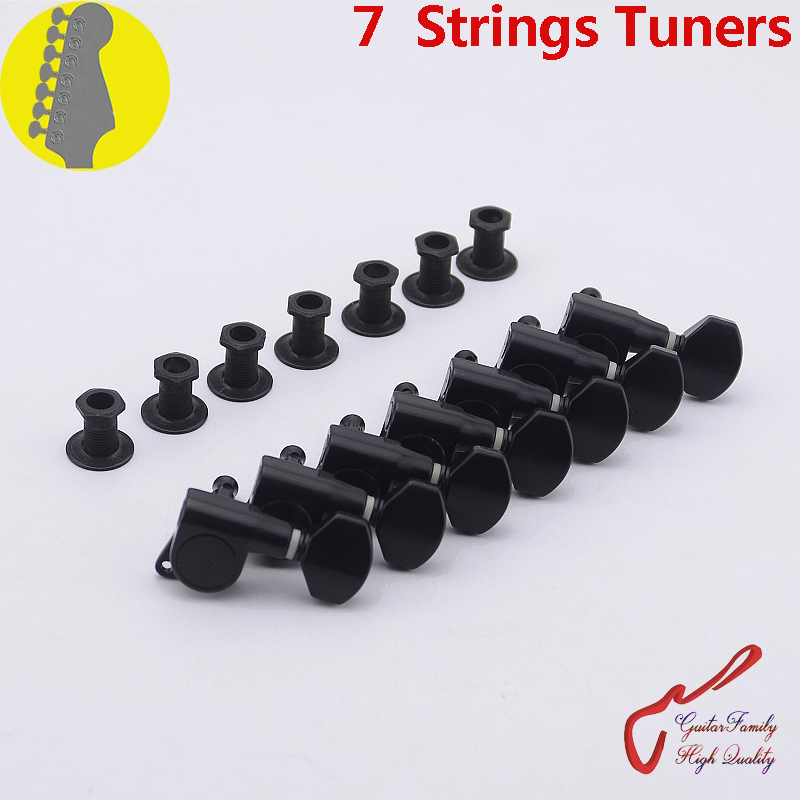 1 Set GuitarFamily  7 In-line  7 Strings Guitar  Machine Heads Tuners  Black (#1284R*7)  MADE IN KOREA