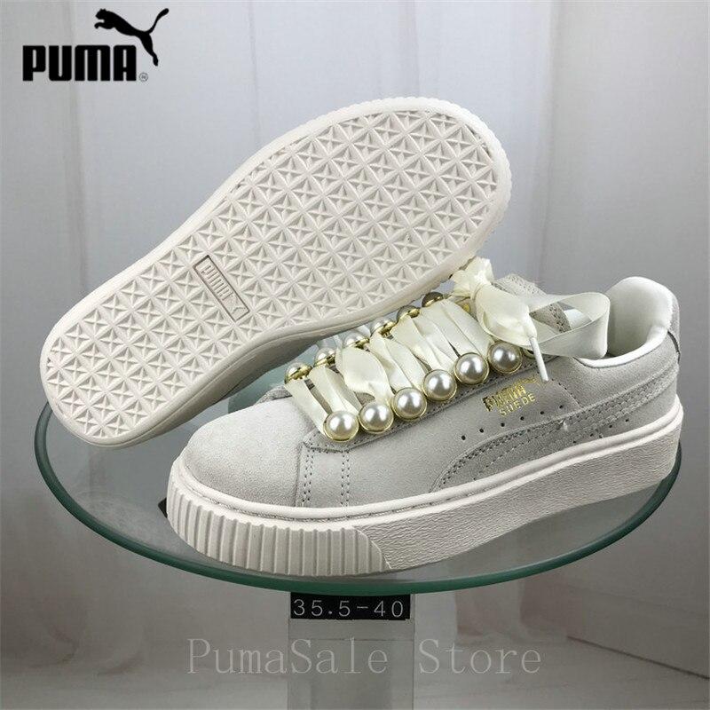 New Arrival PUMA Women s Suede Platform Mono Satin Badminton Shoes Women s  Breathable Sneakers Women Size 35.5 39cc373e9