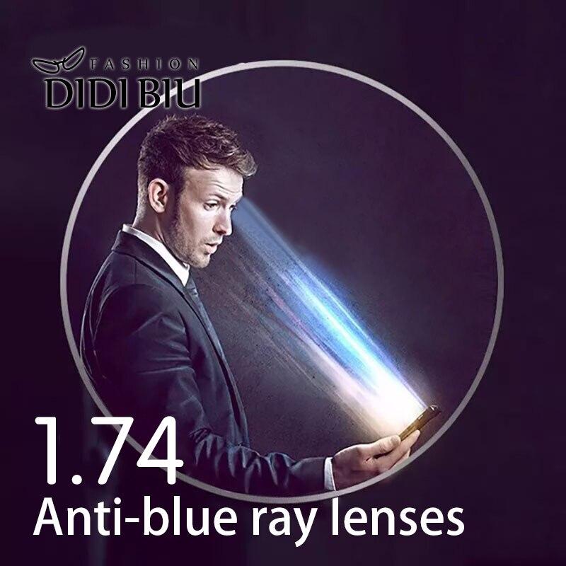 Anti azul Ray 1,74 asféricos gafas lente miopía lentes de prescripción lente claro CR39 óptico gafas dioptrías vista U05