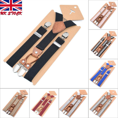 UK Toddler Kid Baby Adjustable Suspender Girl Boy Clip-on Elastic Stripe Y-back Braces 0-5 Years