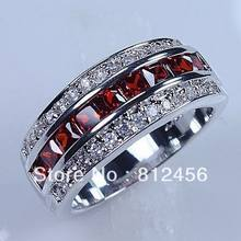 Size 8/9 /10/11/12 Classic Cocktail Jewelry Red Garnet 10KT White Gold Filled GF Gem Ring Band for Men gift(China)