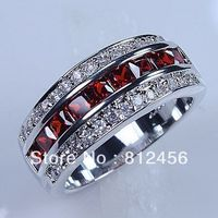 Size 8 9 10 11 12 Classic Cocktail Jewelry Red Garnet 10KT White Gold Filled GF