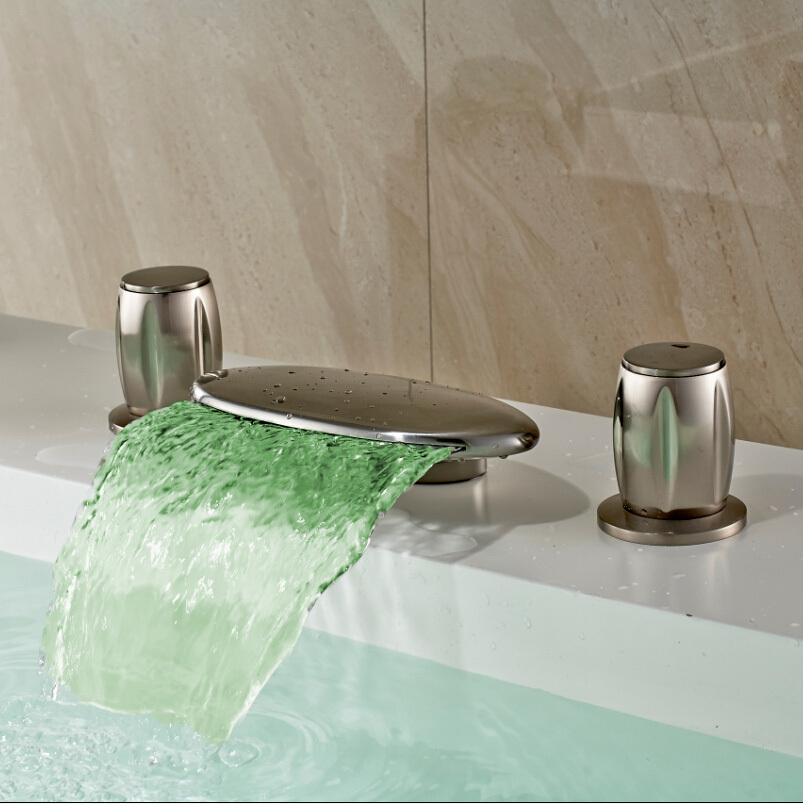 Modern Deck Mounted LED 3Pcs Bathtub Basin Sink Waterfall Spout Mixer Tap Brushed Nickel Bathroom Faucet