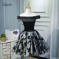 Liyuke Off The Shoulder Cocktail Dress Black Color Elegant Strapless Satin Fabrics Knee Length Prom Dress For Cocktail Party