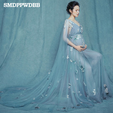 De maternité Photographie Props Femmes Enceintes robes Royal Style dentelle de maternité longue robe Sexy V Cou