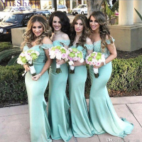 [Custom made] Long Mermaid Bridesmaid Dresses 2019 Off Shoulder Lace Maid Of Honor Dress Women Bridal Formal Party Ladies Dress