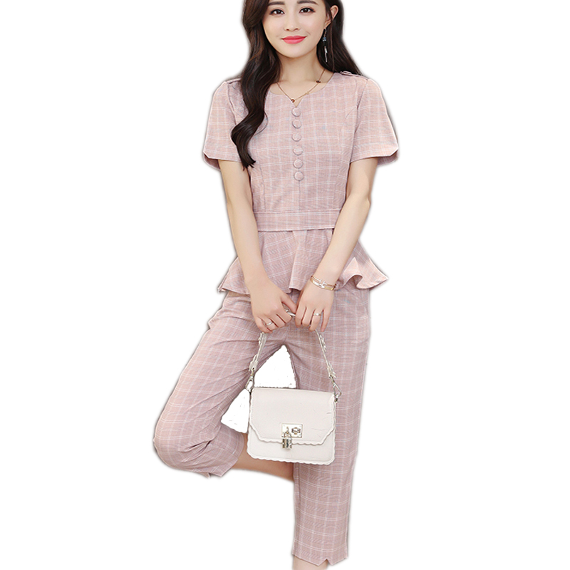 Fashion Plaid Thin Summer New Top&pants Set Elegant Temperament Office Work Trousers Suit Set Feminina Classical Pants Suit