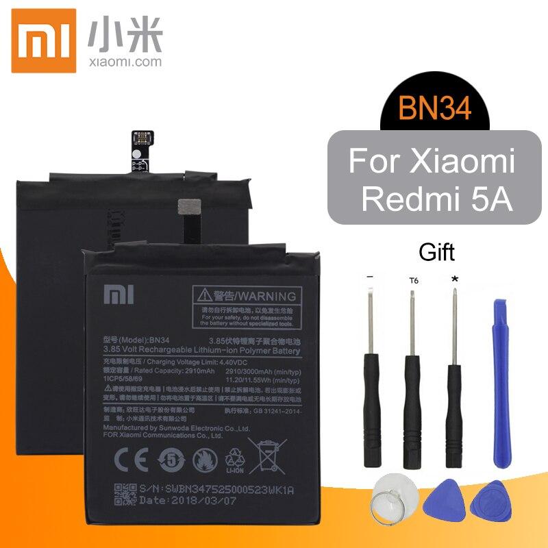Xiao Mi BN34 Original Replacement Phone Battery 2910mAh High Capacity For Xiaomi Redmi 5A 5.0 + Free ToolsXiao Mi BN34 Original Replacement Phone Battery 2910mAh High Capacity For Xiaomi Redmi 5A 5.0 + Free Tools