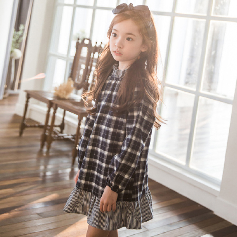 Big Girl Plaid Dress Baby Little Girls Princess Dresses 2017 Autumn Teenage Children Clothing For 3-12 Years Kids Clothes