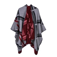 Small Cubes Pattern Ponchos 2019 New Cashmere Scarf Women Winter Warm Shawls and Wraps Brand Designer Pashmina Thick Capes Femme