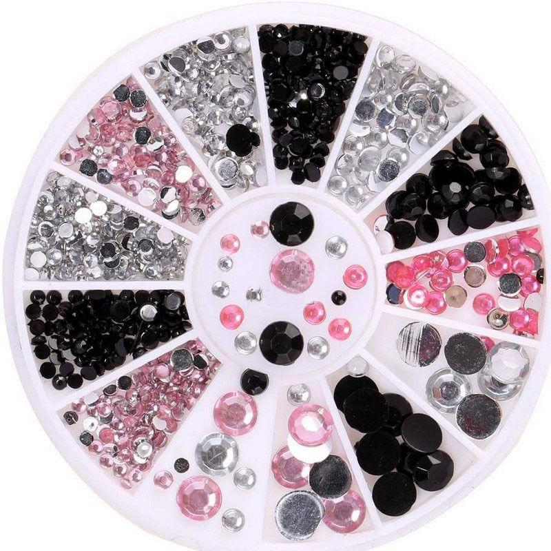 3D Nail Art Tips Gems 3 Colors Crystal Glitter Rhinestone ...