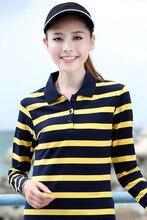 polos women new college style striped lapel long sleeve fashion polo shirt women striped camisa polo feminina 2017