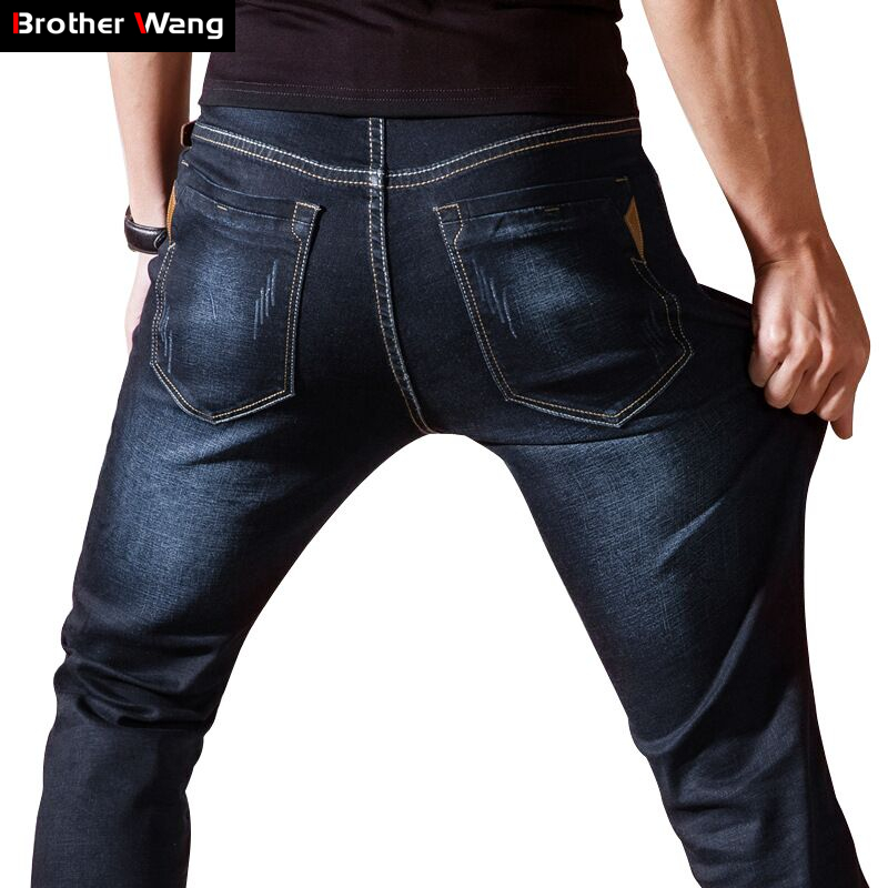 New Men 's Elastic Brand Jeans Fashion Business Solid Color Slim Jeans Casual Small Straight Male Trousers Blue Black Size 28-38 fashion men s clothing print jeans male slim elastic colored drawing personality trousers flower trousers