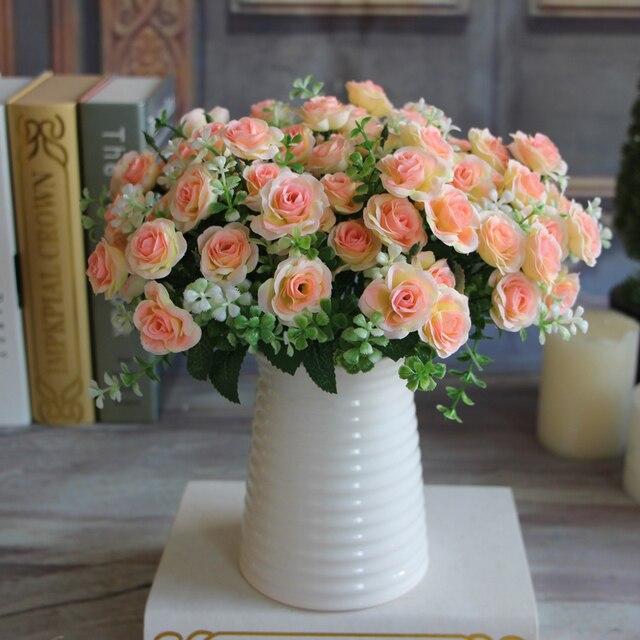 1 Bouquet 15 Boccioli di Fiori Artificiali di Seta Fiore di Autunno Rose Finto F