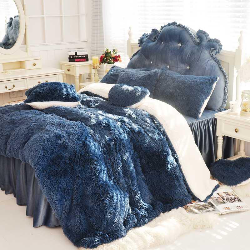 Dunkelblau Rosa Lila Weiß Warme Nerz Samt Bettwäsche Set Weiche Berber Fleece Bettbezug Flanell Bettlaken Bett Rock kissenbezüge