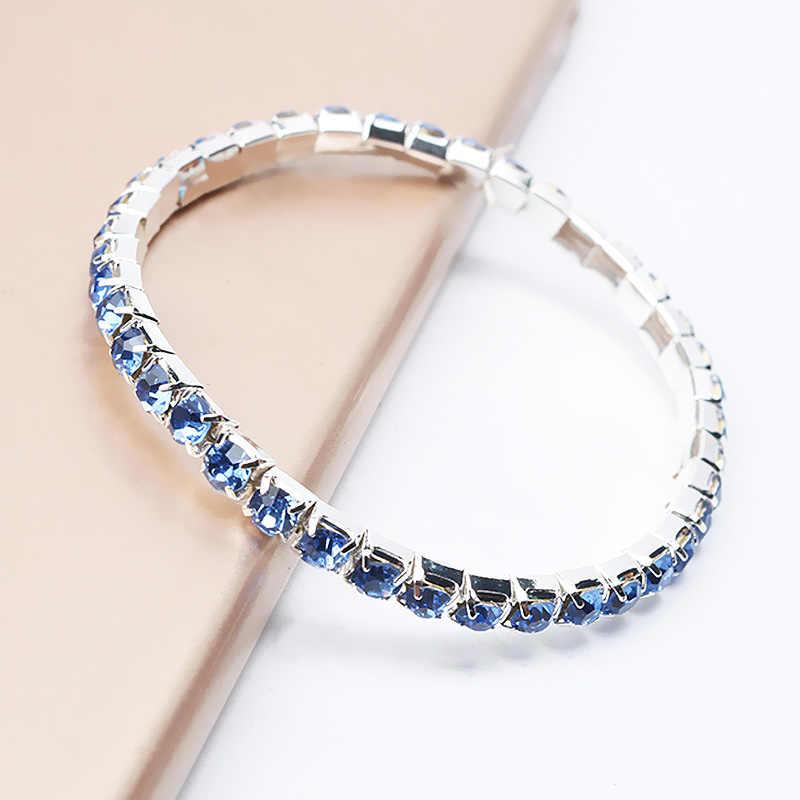 Strass chaud brillant bracelet à breloques pour les femmes filles cristal Simple élastique corde chaîne plage bijoux