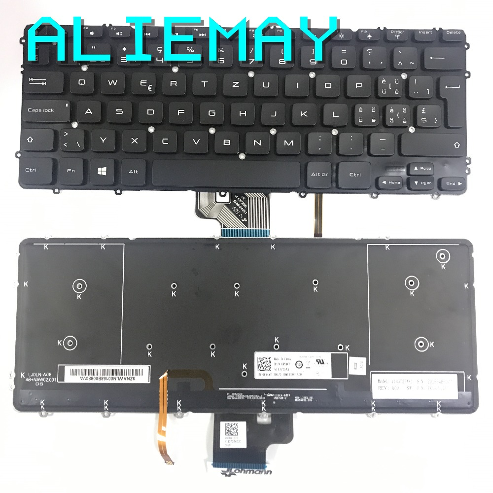Brand New Original SW  Swiss Backlight Keyboard For DELL XPS15-9530  PRECISION M3800  3800 With Backlight  Keyboard  BLACK