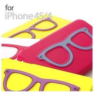 For apple for iphone for 4 4s phone case fruit cartoon tridea shell glasses lighting