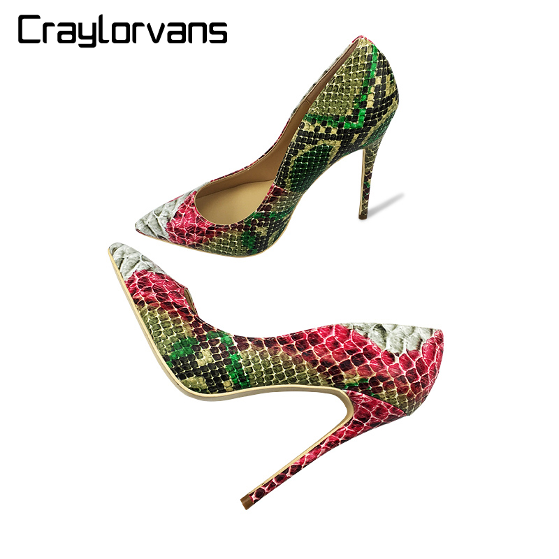 Craylorvans 12cm/10cm/8cm 2018 New Snake Printing women shoes Green high heel shoes Sexy Pumps Party wedding shoes size 43 blue extrem high heel shoes 2018 snake printing women shoes fashion shallow mouth pumps woman wedding shoes big size