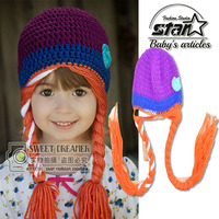 2016 New Elsa Anna Princess Winter Beanies Fashion Baby Girl Winter Hat Hand Knitted Winter Caps