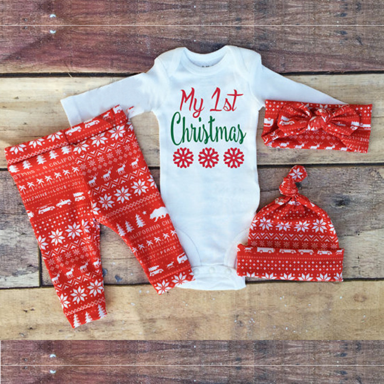 Aliexpress.com : Buy My 1st Christmas outfits set / romper with long  sleeves + snowflake headband + hat + leggings set / 4 pcs set from Reliable  rompers ... - Aliexpress.com : Buy My 1st Christmas Outfits Set / Romper With Long