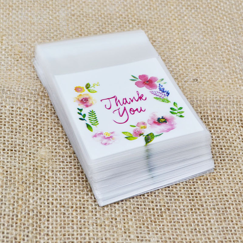50/100Pcs Plastic Bags Thank You Cookie Candy Bag Self-Adhesive For Wedding Birthday Party Gift Bag Biscuit Baking Packaging Bag