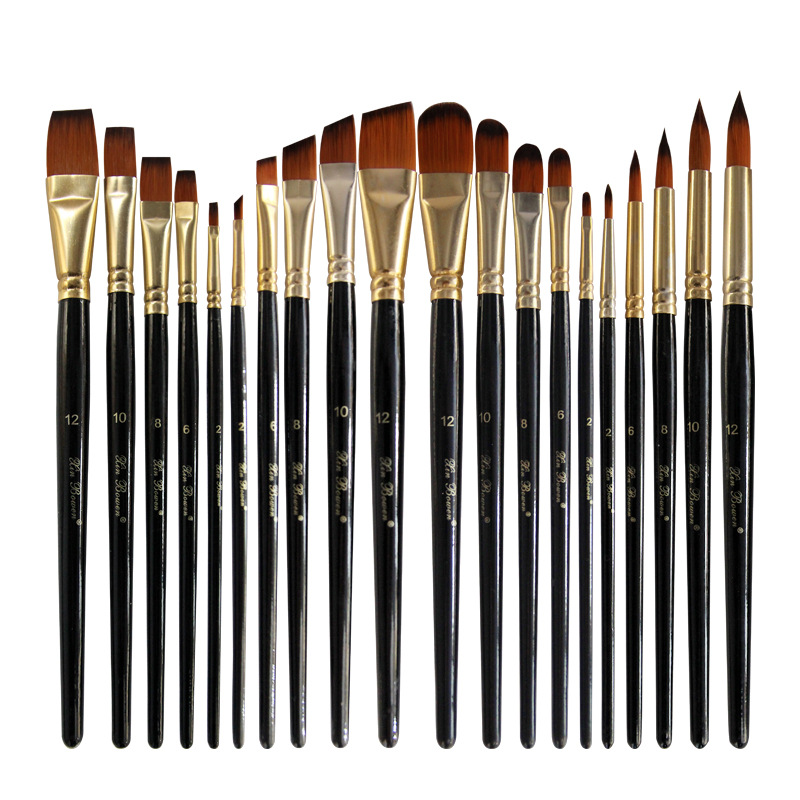 5pcs/set Nylon Hair Oil Paint Brush Set Round Filbert Angel Flat Brush Acrylic DIY Watercolor Pen For Artists Painters Beginners