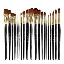 5pcs/set Nylon Hair Oil Paint Brush Set Round Filbert Angel Flat Acrylic DIY Watercolor Pen for Artists Painters Beginners