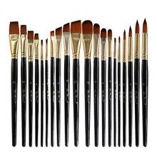 5 pièces/ensemble Nylon cheveux huile peinture pinceau ensemble rond Filbert ange plat brosse acrylique bricolage aquarelle stylo pour artistes peintres débutants