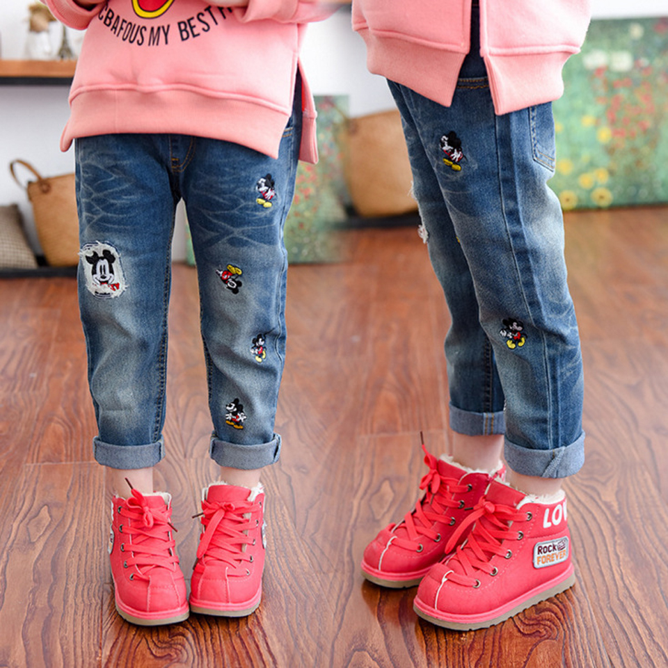 2018 New Style Girls Jeans Kids Clothing Pants For Girls Spring Trousers Children Jeans Elastic Waist Baby Cowboy Trousers 2-6T 2017 new plus size clothing spring bell bottom jeans female lengthen boot cut mid waist big horn denim trousers