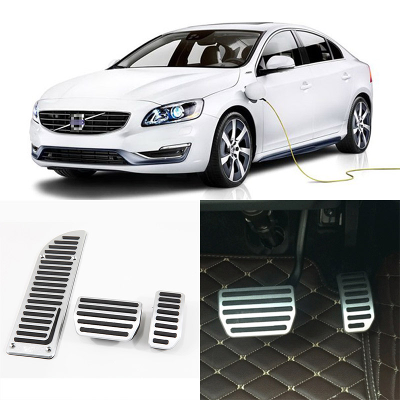 Brand New 3pcs Aluminium Non Slip Foot Rest Fuel Gas Brake Pedal Cover For Volvo S60 AT 2014-2016 brand new 3pcs aluminium non slip foot rest fuel gas brake pedal cover for volvo xc60 at 2015 2017