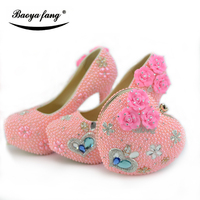 BaoYaFang Pink Pearl thin heel Womens wedding shoes with matching bags fashion Ladies party dress shoes and bag sets high shoes