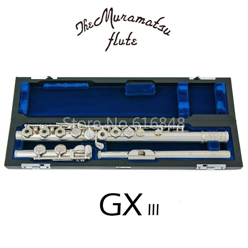 Nouvelle Arrivée Muramatsu GX-III Haute Qualité Flûte E-Mécanisme C Tune 16 Touches Trous Ouvert Flûte Argent Plaqué Flûte avec Cas