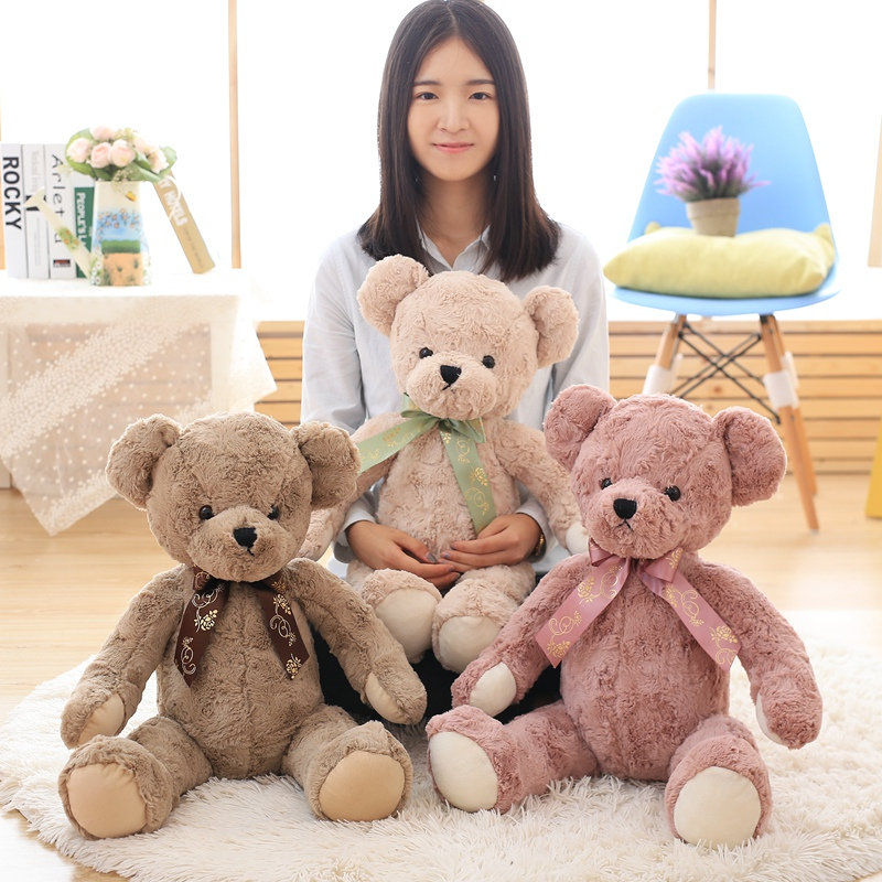 Kawaii 65cm Teddy Bear Stuffed Toys Ribbon Stuffed Animal Bear Plush Kawaii Plush Toys Soft Bedtime Sleep Doll Toy For Children 27cm 50cm kawaii polar bear stuffed toys stuffed animal bear plush kawaii plush toys soft bedtime sleep doll newborn baby kids