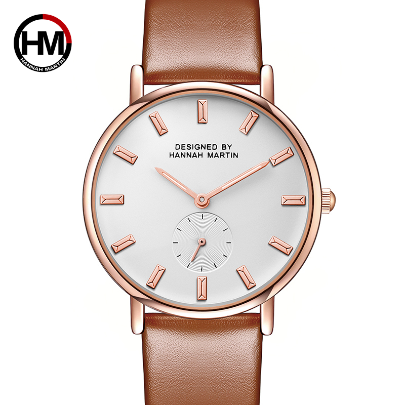 Hannah Martin Fashion Golden Ladies Watch Women Leather Wrist Watches Diamond Gold Clock Saat Relogio Feminino bayan kol saati retro design leather band analog alloy quartz wrist watch relogio feminino women watches reloj mujer bayan kol saati