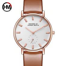 Hannah Martin Fashion Golden Ladies Watch Women Leather Wrist Watches Diamond Gold Clock Saat Relogio Feminino bayan kol saati women watches guou creative square watch women fashion genuine leather quartz ladies watch saat erkek kol saati relogio feminino