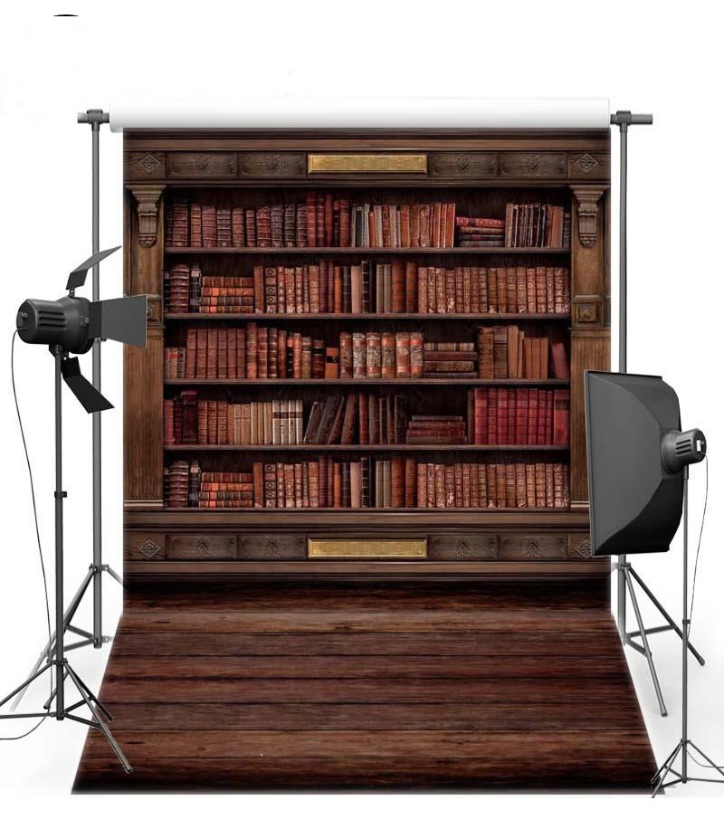 Bookshelf Bookcase Library Floor photo backdrop Vinyl cloth High quality Computer printed party photo studio background