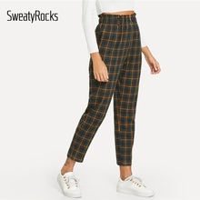 SweatyRocks Casual Green Plaid Peg Zip Fly Tapered Pants Ankle-Length Elastic Waist Pant 2018 Autumn Women Pants And Trousers AQ01