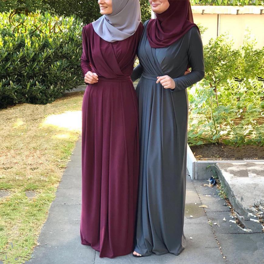 7colors Elegant Muslimah Pleated abaya Turkish Singapore full length Jilbab Dubai female Muslim Islamic dress wq1330 dropship