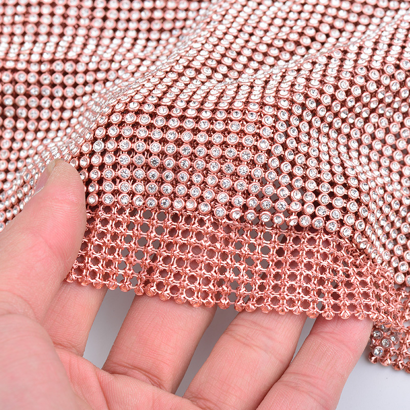 JUNAO 45 120cm Champagne Gold Color Glass Rhinestones Fabric Sheet Aluminum Mesh Sewing Metal Trim Bridal