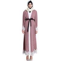 Babalet Womens 'Bescheiden Moslim Islamitische Kleding Dubai Kaftan Caftan Jilbab Abaya Kant Zoom Stippen Volledige Lengte Abaya met Riem
