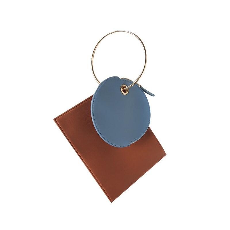 Ring Handbag Master-Bag Day-Clutches Metal Purses Korean Designer Women Wallet Two-Sided